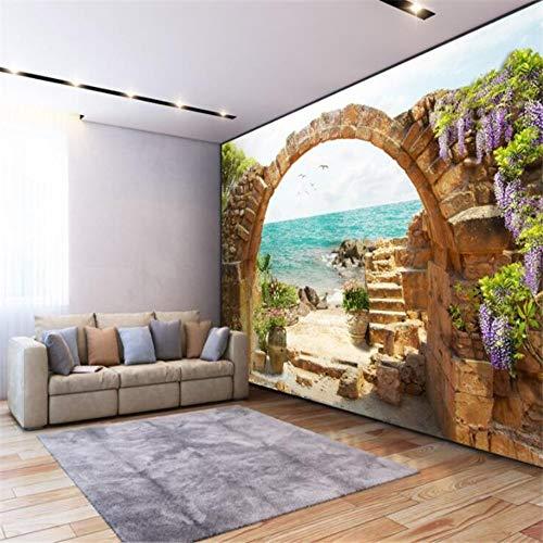 Benutzerdefinierte 3D Wallpaper Garten Stein Torbogen Meerblick 3D Papier Hintergrund Wanddekoration, 250 × 175Cm