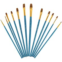 Conjunto de 12 Piezas Nylon de Pintura de Brocha de Pelo Artista Punta Plana Azul de Manija