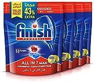 اقراص فينيش لغسالات الصحون، الكل في واحد، مجموعة من 4 اكياس تحوي 224 قرص برائحة الليمون