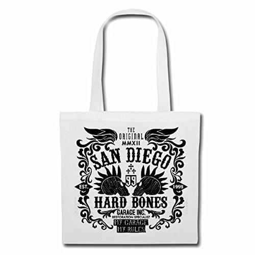 Tasche Umhängetasche SAN Diego Hard Bones Skull BIKERSHIRT Gothic Bike Club MC Motorcycle Chopper Custom Motorrad MOTORRADTREFFEN Club TREFFEN Einkaufstasche Schulbeutel Turnbeutel in Weiß