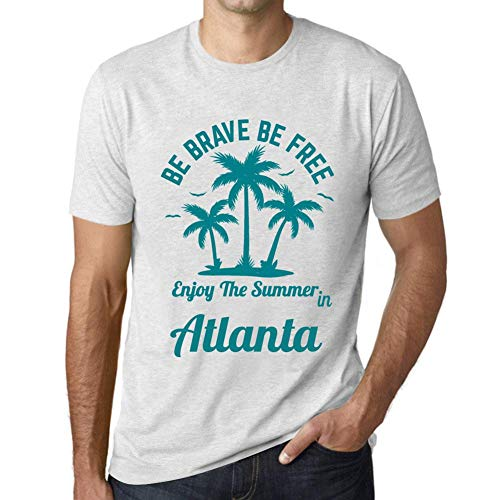 Herren Tee Männer Vintage T-shirt Be Brave & Free Enjoy the Summer Atlanta Weiß Gesprenkelt - Atlanta Braves Rock