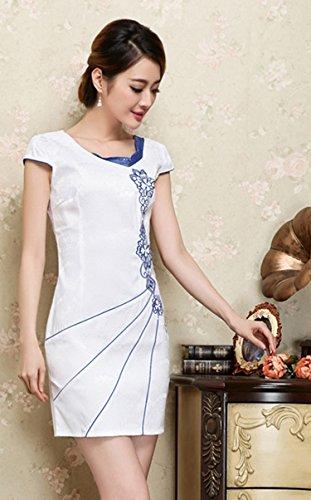 YueLian Damen Frauen Sommer QiPao Kleid kurzarmelige Kleider mit Muster in Zwei Farben Weiß