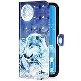 Uposao Kompatibel mit iPhone 11 Pro Handyhülle Leder Tasche Bling Glitzer Luxus 3D Effekt Glänzend Muster Hülle Flip Wallet Case Brieftasche Klapphülle Ständer Kartenfach,Mond Wolf