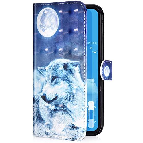 Uposao Kompatibel mit Samsung Galaxy S10 Handyhülle Leder Tasche Bling Glitzer 3D Effekt Glänzend Muster Hülle Flip Wallet Case Brieftasche Klapphülle Ständer Kartenfach,Mond Wolf