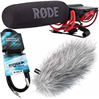 Rode Videomic Rycote Bundle (Rode Videomic + KEEPDRUM WSWH Windschutz + 3m Mini-Klinke Kabel)