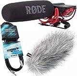 Rode Videomic Rycote Bundle (Rode Videomic + KEEPDRUM WSWH Windschutz + 3m Mini-Klinke Kabel)