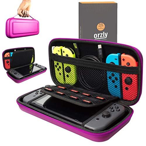 Orzly Etui Rigide en EVA pour Nintendo Switch – Housse Rigide de Rangement Zippée en Matériau Durable Anti-Choc pour la Console Nintendo Switch et Ses Accessoires - Ros
