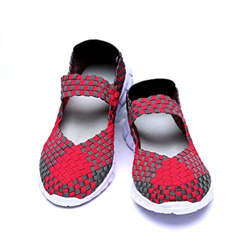 Blivener Schlupfschuh für Damen, gewebt, leichtgewichtig, elastisch, bequem, für Sport/Wasser rose