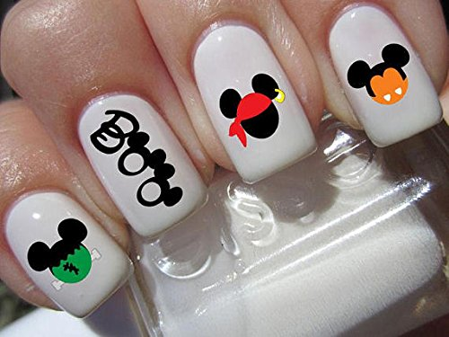 Halloween Mouse Kostüme (Boo Halloween Scary Disney Mickey Mouse & Minnie Mouse Kostüm Köpfe Nail Art Wasserrutsche Abziehbilder Nail Design Set #)