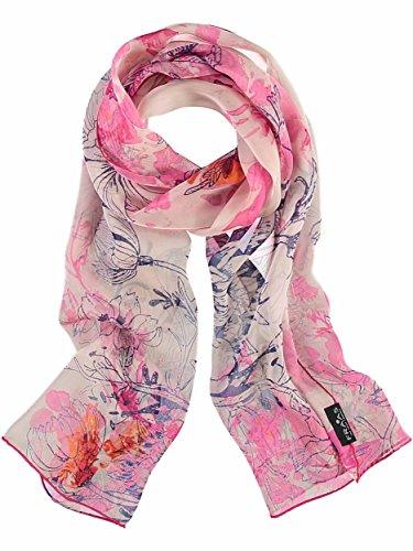 Floral Print Schal (FRAAS Damenschal Schal mit Floral-Print aus reiner Seide, 43 x 160 cm Pink)