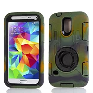 Camouflage Shockproof Silicone + Hard Plastic Combination Case with Ring Holder for Samsung Galaxy S5 G900