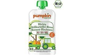 Pumpkin Organics SONNIG Bio Gemüsepüree Quetschie aus Kürbis, Süßkartoffel, Birne, Banane und Blaubeere (10x100g) I Baby Snacks ab dem 6. Monat