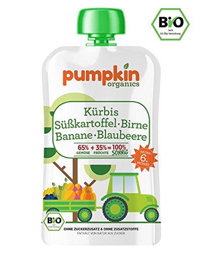 Pumpkin Organics SONNIG Bio Gemüse Quetschies aus Kürbis, Süßkartoffel, Birne, Banane und Blaubeere (30x100g) I Babynahrung ab dem 6. Monat (Bio-süßkartoffel Snacks)