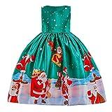 Riou Weihnachten Baby Kleidung Set Kinder Pullover Pyjama Outfits Set Familie Kleinkind Kinder Baby Mädchen Santa Print Prinzessin Kleid Partykleid Weihnachten (120, Grün)