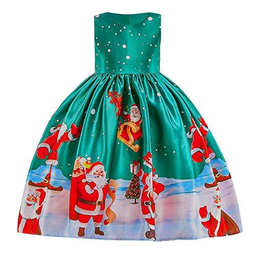 Riou Weihnachten Baby Kleidung Set Kinder Pullover Pyjama Outfits Set Familie Kleinkind Kinder Baby Mädchen Santa Print Prinzessin Kleid Partykleid Weihnachten (100, Grün)