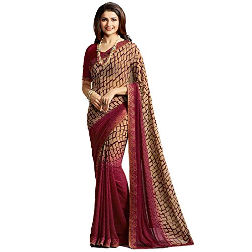 TAGLINE Women's Georgette Saree With Blouse Piece(Multicolor ,Free Size)