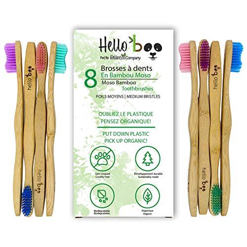 Cepillo de dientes de bambú para adultos y adolescentes |Juego de 8 cepillos biodegradables de cepillo de dientes | Bambú de Moso ecológico ecológico con mangos ergonómicos y cerdas de nailon medianas