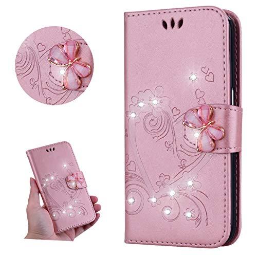 Miagon für Huawei Y6 2019 Leder Hülle,Diamant Schmetterling Geprägt Liebe Herz Blumen Magnetverschluss Kunstleder im Bookstyle Schutzhülle Beirftasche