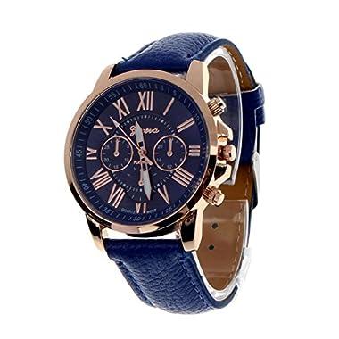 Tonsee Women Fashion Roman Numerals Faux Leather Band Analog Quartz Wrist Watch