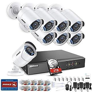 ANNKE Videoüberwachung HD 8CH 1080P Überwachungskamera Set CCTV System TVI 2.0MP DVR Recorder + 8 Außen 1080P Überwachungskamera für innen und außen Bereich mit 2TB HDD Nachtsicht bis zu 30 Meter