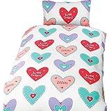 Hearts - Juego de fundas nórdico/edredón cama individual para niñas. (Cama individual/Multicolor)