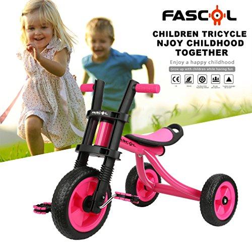 Fascol Triciclo Classic Para Niños 2-5 Años De Aluminio Bicicleta De Tres Ruedas + ABS + Titanio Inflable Vacío Rueda De Color(Rosa)
