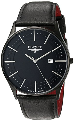 ELYSEE Made in Germany Diomedes II 83017L 42mm Ion Plated Stainless Steel Case Black Calfskin Synthetic Sapphire Men's Watch