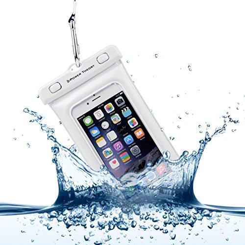 Power Theory Wasserfeste Handyhülle - Wasserdichte Handytasche Handyschutz Cover Beutel Beachbag Tasche Handy Hülle Waterproof Case - iPhone X 8 7 6s SE Samsung S9 S8 S7 Edge Handys bis 6 Zoll (Weiß)