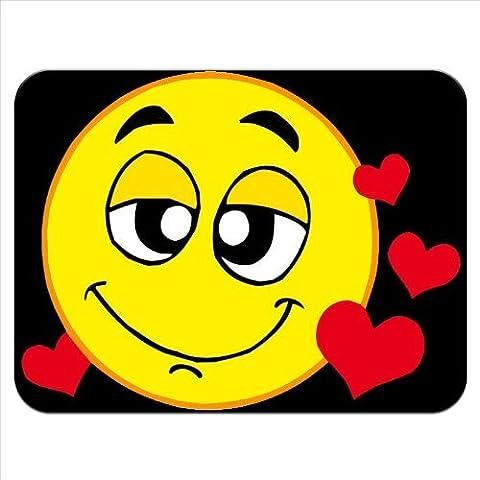 Suzurro de amor sello con forma de cara con diseño de corazones rojos patrullen de goma gruesa para alfombrilla para ratón acabado cómodo y suave