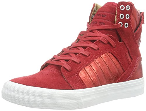 Supra Skytop, Baskets Basses Femme Rouge (Red White)