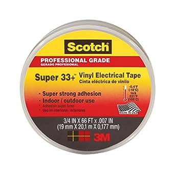 3M 80611207012 33+ Scotch Super Electrical Tape, Vinyl, 19 mm x 20 m - Black