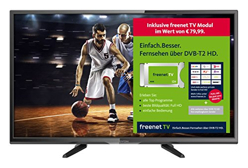 Dyon Enter 32 Pro freenet TV Edition 80 cm (31,5 Zoll) Fernseher (Triple Tuner, DVB-T2 H.265/HEVC) [Energieklasse A] inkl. freenet TV Modul