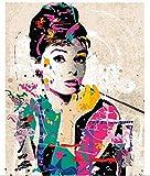 XIGZI Rahmenlose Wanddekor Gemälde Malen nach Zahlen Handgemalt auf Leinwand Gemälde Audrey Hepburn Modernes abstraktes Ölgemälde 40x50 cm