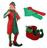 Un déguisement d'Elfe de Noël avec une tunique verte et rouge pour adulte + chaussures + collants. Ideal pour les fêtes de Noël. ( Medium )
