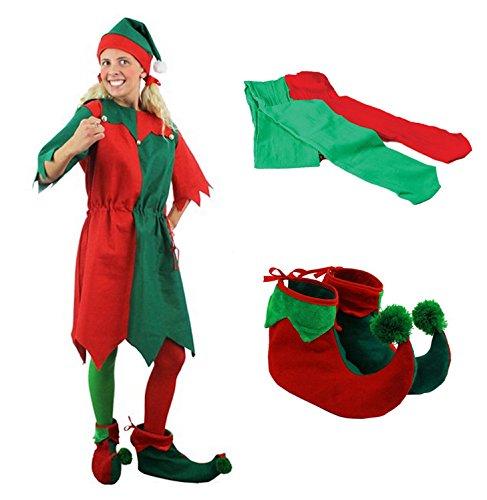 ILOVEFANCYDRESS Un déguisement d'Elfe de Noël avec Une Tunique Verte et Rouge pour Adulte + Chaussures + Collants. Ideal pour Les fêtes de Noël. ( Medium )