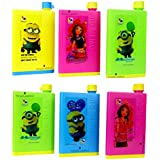 Perpetual Bliss (Pack Of 6) Fancy Notebook Style Minions Water Bottle/Memo Bottle/Flat/Portable/Slim Bottle/Return Gifts For Kids Birthday Party