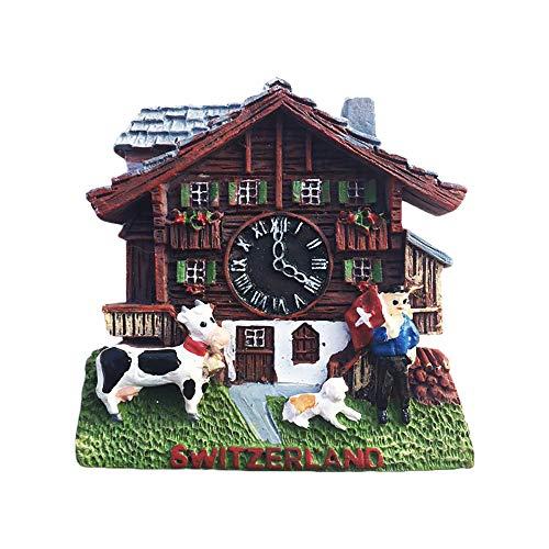 Schweiz Kuckucksuhr 3D Kühlschrankmagnet Tourist Travel Souvenirs Handgemachte Harz Handwerk Magnetische Aufkleber Home Küche Dekoration Kühlschrankmagnet Sammlung Geschenk