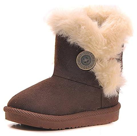 Eagsouni Mädchen Warme Watte Gepolsterten Schuhe Kleinkindschuhe Fell Boots Knopf