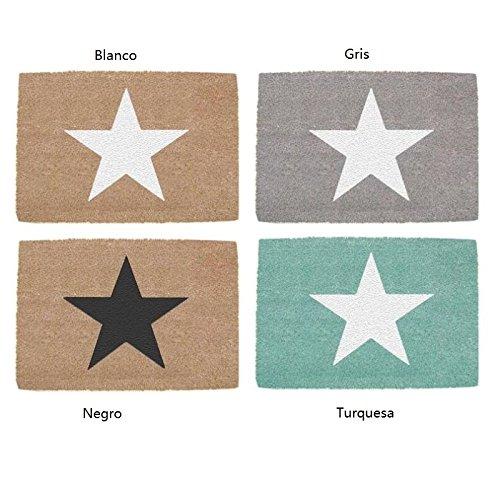 Felpudos Originales  de fibra de coco y base de goma diseño estrella