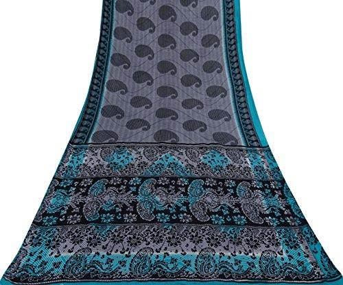 Vintage Indian grau Saree Baumwolle Seide Paisley Printed Ethnische Craft Deco Stoff