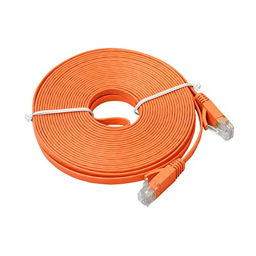 Balai Flat Cat6 Gigabit Snagless Ethernet Network Cable Patch Lead RJ45 Kabel for Smart TV/PS4/Xbox,(3/6/10/16/32FT) - Orange Snagless Network Cable