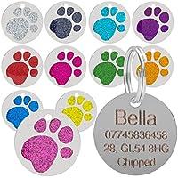 Placa para mascotas, con diseño de huella de pata, brillante, para gatos y perros, 25 mm