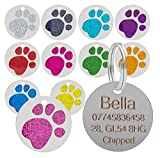 Quality Blue 25mm Glitter Paw Design Pet Id Tag, Dog, Cat, Free Engraving and P&P