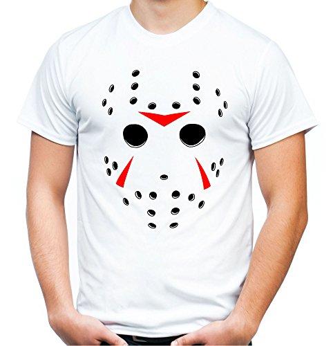 und Herren T-Shirt | Halloween Horror Geschenk | M2 (XL, Weiß) (Halloween Masken Ideen)
