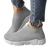 ORANDESIGNE Damen Stricken Sneaker Sportschuhe Leichte Atmungsaktive Turnschuhe Slip-on Walking Schuhe Socks Schuhe B Grau 41 EU