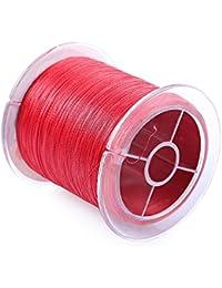 Wenquan,Línea de Pesca de monofilamento PE de 500 m. Cable Trenzado de 4 filamentos.(Color:Rojo,Size:6 Libras)