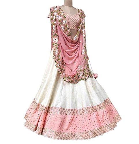 AksharFashion Women\'s Georgette Lehanga Choli (akshar-12 _Pink & White_ Free Size)