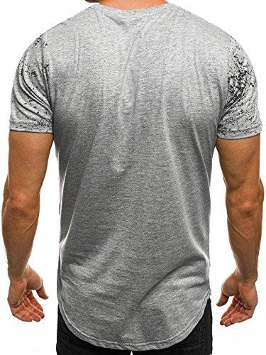 OZONEE Herren T-Shirt mit Motiv Kurzarm Rundhals Figurbetont J.STYLE SS012 Grau_JS-SS108