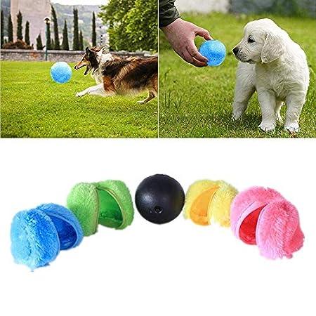 Womdee Magic Roller Ball Spielzeug, Hund Katze Haustier Spielzeug Automatische Elektrisch Spielball für Hundekatze (1 Rolling Ball 4 Farbe Ball Cover)