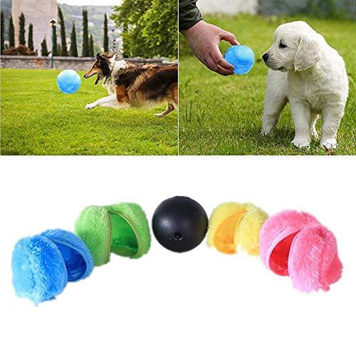 Womdee Magic Roller Ball Spielzeug, Hund Katze Haustier Spielzeug Automatische Elektrisch Spielball für Hundekatze (1 Rolling Ball 4 Farbe Ball Cover) -